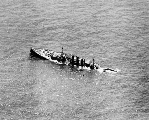 Ostfriesland sinking by the stern. Photo from the US National Archives.