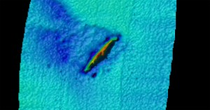 U-352 wreck. 1m resolution multibeam.