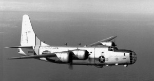 The U.S. Coast Guard Consolidated P4Y-2G Privateer (BuNo 66306) in flight. This aircraft later became a water bomber (N7974A, Hawkins and Powers).