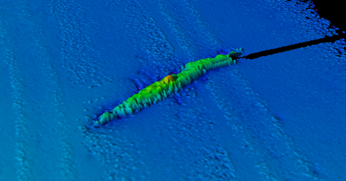 U-853 3D perspective view.