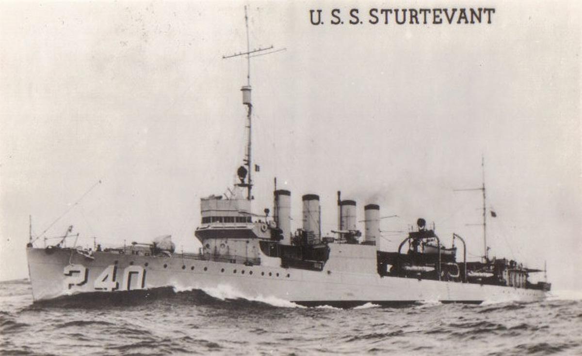 USS Sturtevant (DD-240). U.S. Navy photo courtesy of Navsource.org.