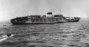 Andrea Doria sinking. Photo from Dr. Lester  S. Sinness (Courtesy of Dr. Joseph B. Levy) via www.andreadoria.org.