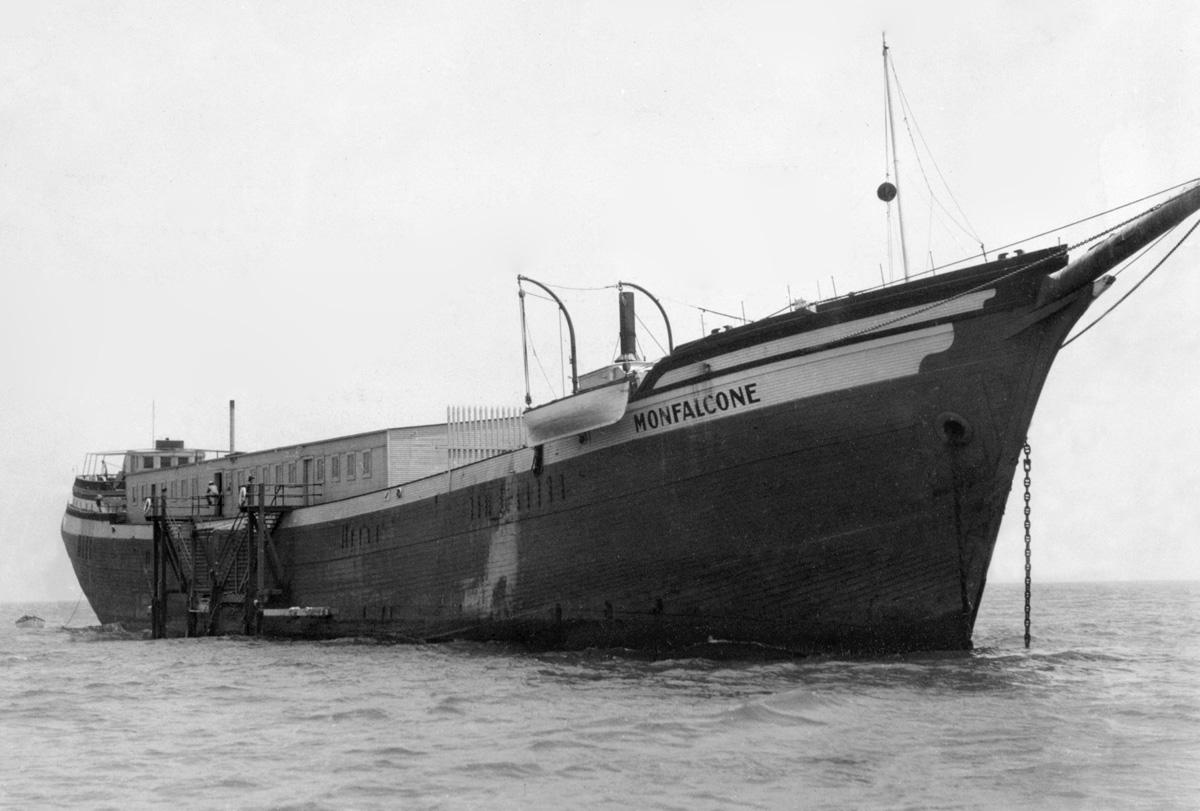 Gambling barge Monfalcone. Photo from the San Francisco Maritime National Historic Park.